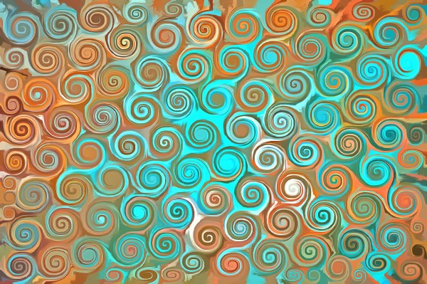 Turquoise and Gold Swirls