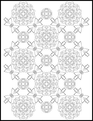 Free Coloring Page – Roses and Bows