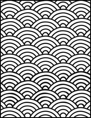 Seigaiha (Wave) Pattern Free Coloring Page